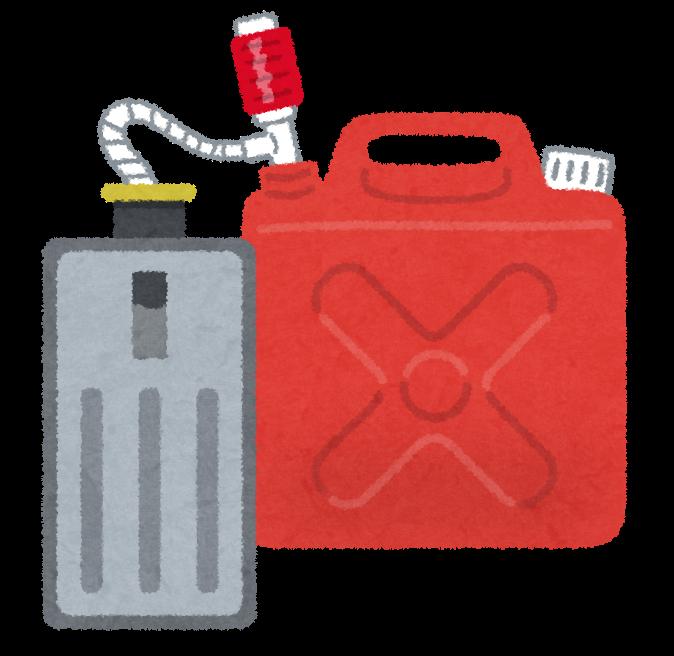 灯油のポリタンクとストーブの燃料タンク